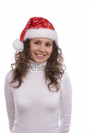 Santa girl in red Christmas cap