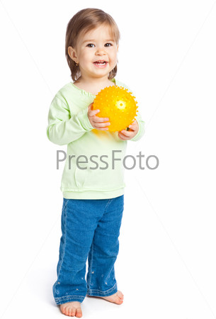 Little girl with yellow ball
