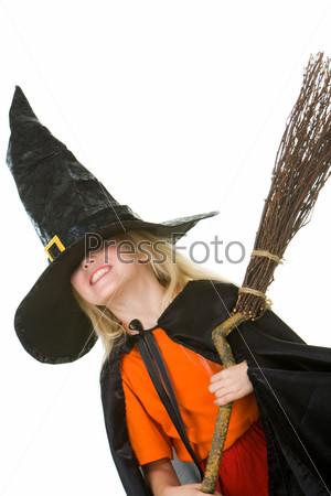 Girl in Halloween attire