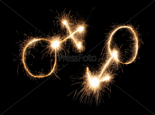 male and female symbols drawn sparkler