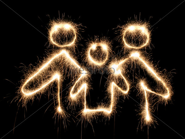 male and female symbols drawn sparkler
