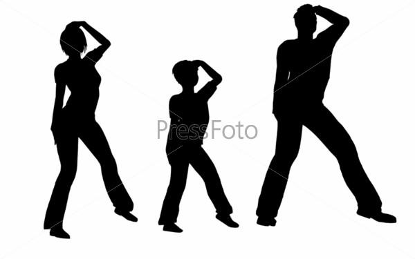 Силуэты танцующей семьи