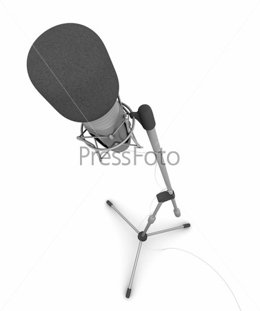 Микрофонная стойка на белом фоне