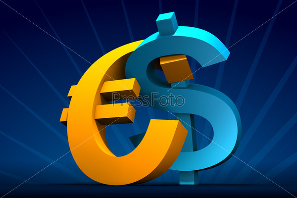 Dollar and Euro embrace