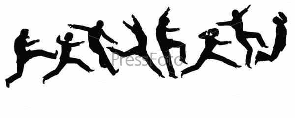 jumping businessteam