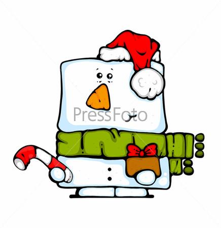 Карикатура снеговика в шапке деда мороза