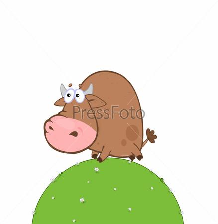 Мультипликационный бык на горе