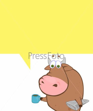 Мультипликационный бык с местом под текст