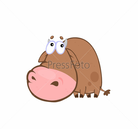 Мультипликационный бык виноватого вида