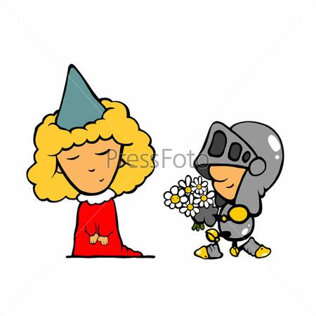 Карикатура, рыцарь на одном колене дарит цветы девушке