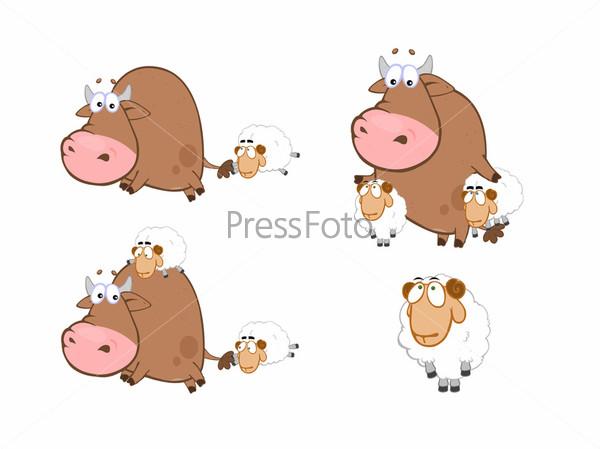 Коллаж рисованных бычков и овечек