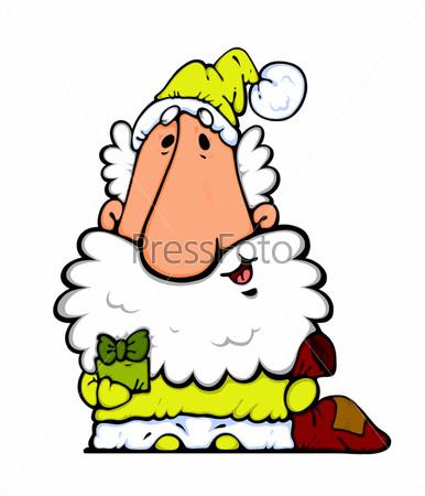 Веселый рисованный Дед Мороз