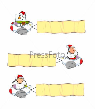 Рисованные Деды Морозы с баннерами на самолете