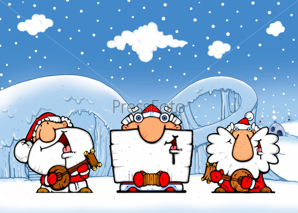 Три Деда Мороза с музыкальными инструментами