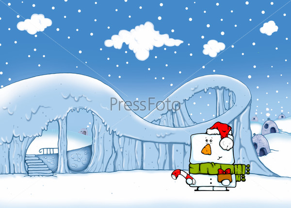 Снеговик зимой