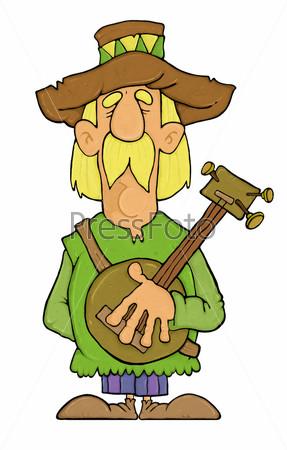 Рисунок мужчины в шляпе с банджо в руках