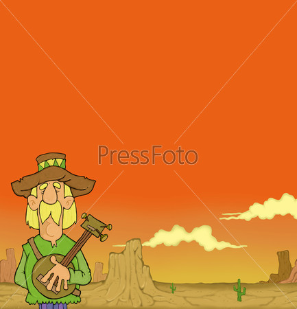 Рисунок мужчины в шляпе с банджо в руках на фоне пустыни