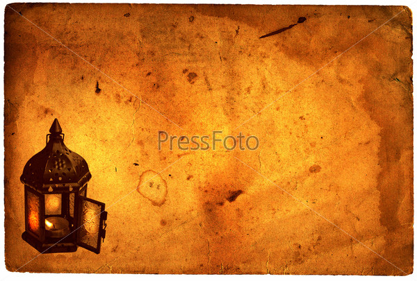 Лампа, нарисованная на пергаменте