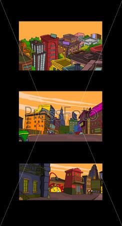 Коллаж рисованных домов