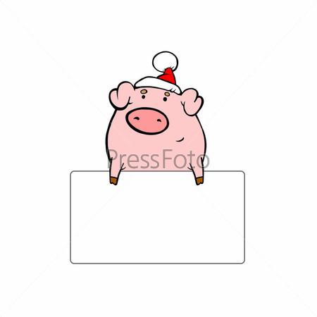 Свинья в красной шапке с белой табличкой