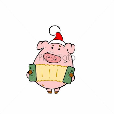 Свинья в красной шапке играет на гармошке
