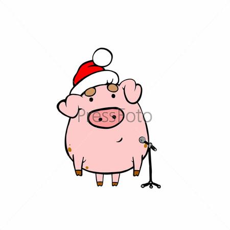 Свинья в красной шапке у микрофона