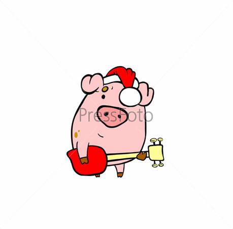 Свинья в красной шапке с бас-гитарой