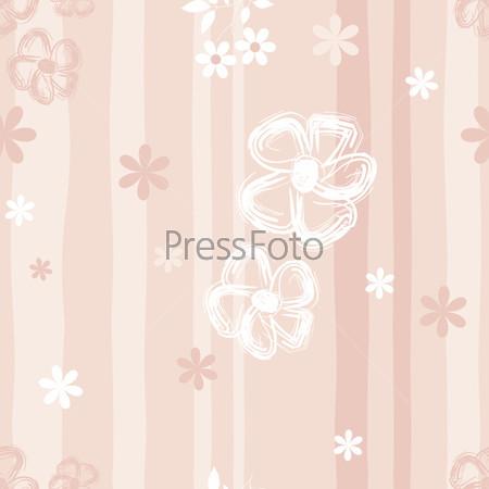 Светло-розовый фон с нарисованными цветами