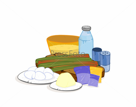 Продукты питания на белом фоне