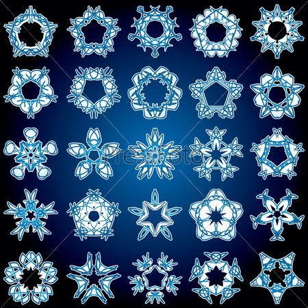 Set of 25 a five-rays crystal gradient snowflakes.