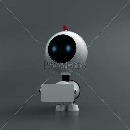 Белый робот с табличкой под текст