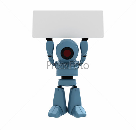 Синий робот с табличкой для текста