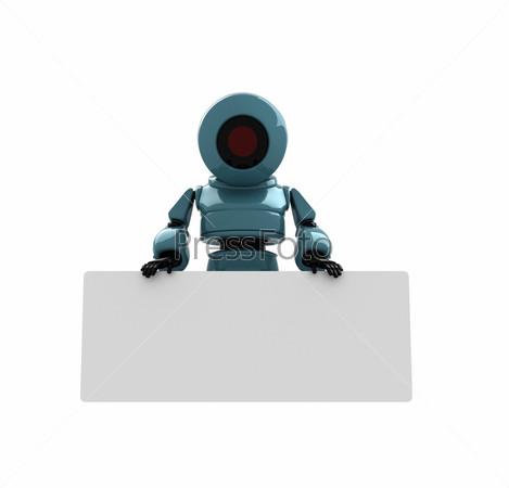 Синий робот с местом для текста