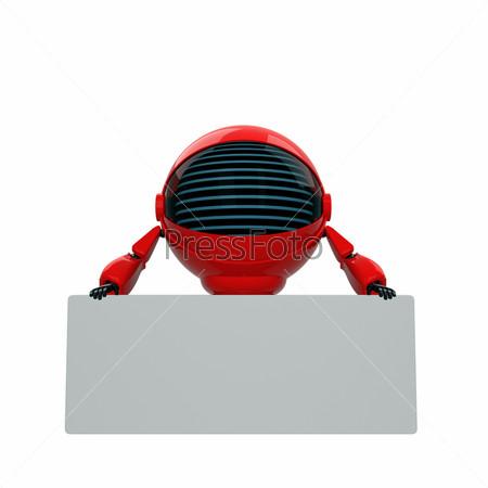 Красный робот с местом для текста