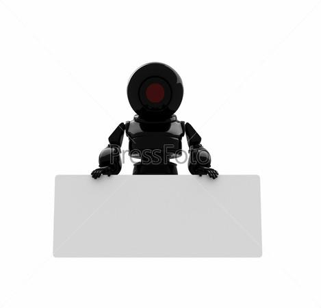Черный робот с местом для текста