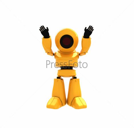 Фигурка радостного желтого робота