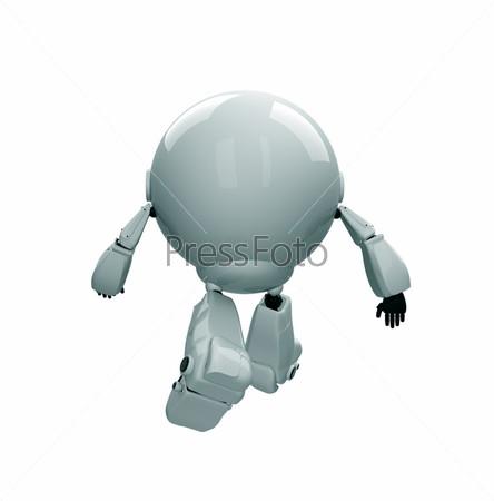 Фигурка убегающего белого робота