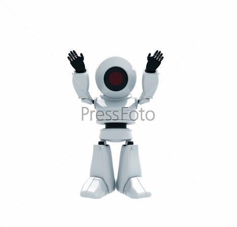 Фигурка довольного белого робота