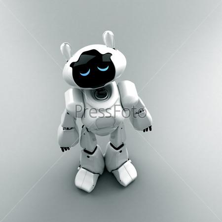 Фигурка грустного белого робота