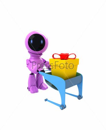 Робот с подарком в корзине для покупок
