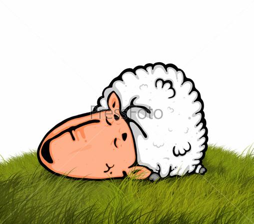 Рисунок спящей овечки на холме