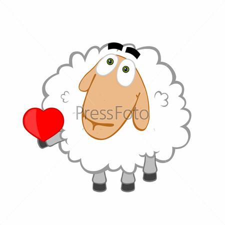 Рисунок влюбленной овечки