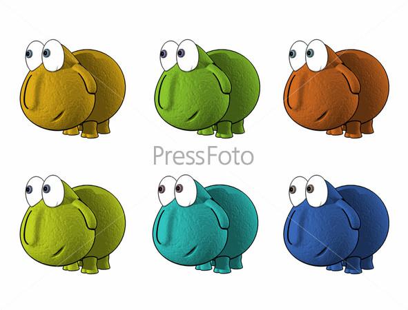 Группа разноцветных фигурок животных