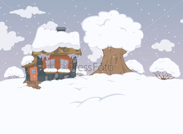 Рисованный зимний пейзаж