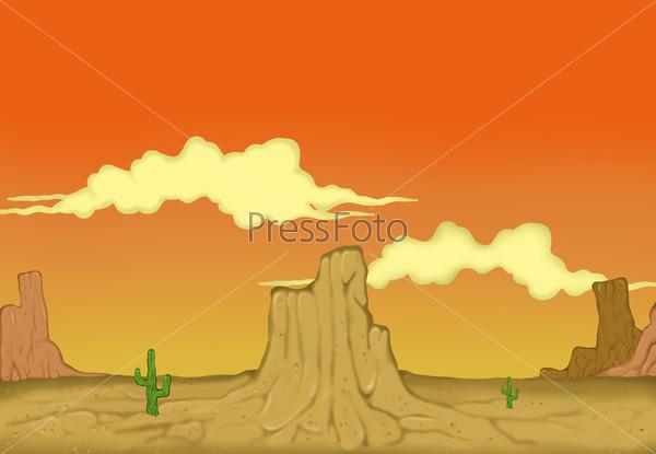 Рисованный пустынный пейзаж