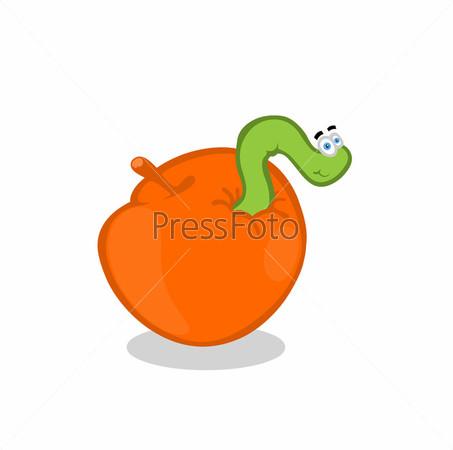 Зеленый червяк на яблоке