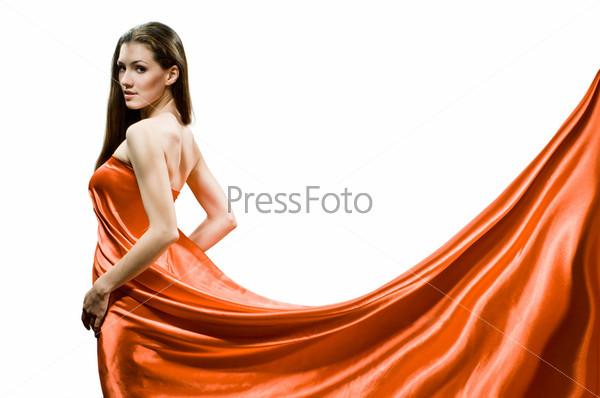 Девушка в платье фото на белом фоне