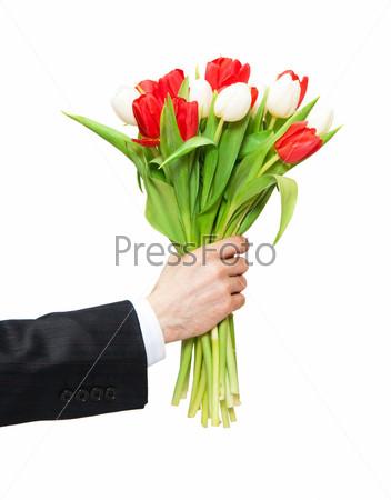Рука мужчины с цветком и женская рука 82