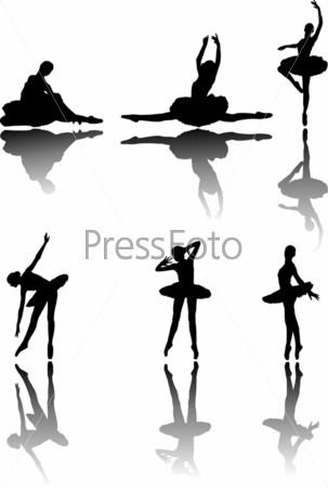 Силуэты танцующих балерин