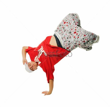 Breakdance performer on white background